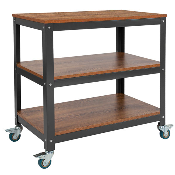 """Wholesale Livingston Collection 30""""W Rolling Storage Cart with Metal Wheels in Brown Oak Wood Grain Finish"""