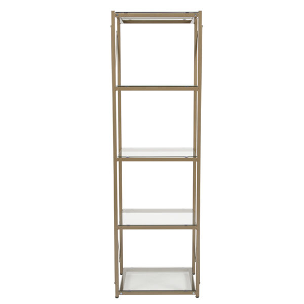 "Lowest Price Mar Vista Collection 4 Shelf 64""H Cross Brace Glass Bookcase in Matte Gold"