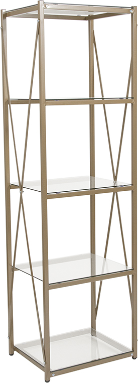 "Wholesale Mar Vista Collection 4 Shelf 64""H Cross Brace Glass Bookcase in Matte Gold"