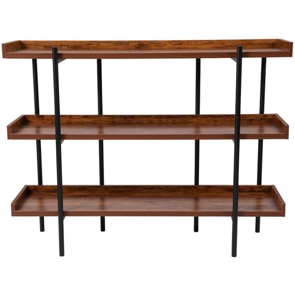"""Lowest Price Mayfair 3 Shelf 35""""H Storage Display Unit Bookcase with Black Metal Frame in Rustic Wood Grain Finish"""