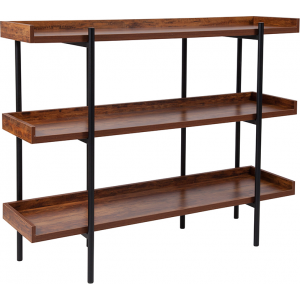 "Wholesale Mayfair 3 Shelf 35""H Storage Display Unit Bookcase with Black Metal Frame in Rustic Wood Grain Finish"