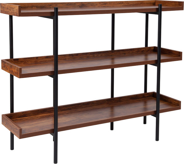 """Wholesale Mayfair 3 Shelf 35""""H Storage Display Unit Bookcase with Black Metal Frame in Rustic Wood Grain Finish"""