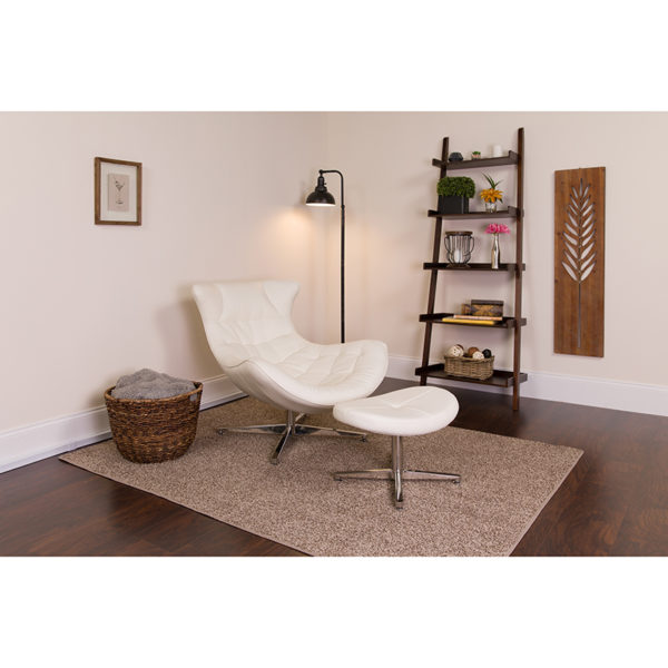 Lowest Price Melrose White Leather Cocoon Chair with Ottoman
