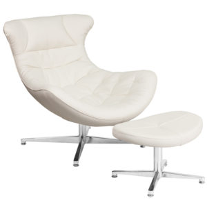 Wholesale Melrose White Leather Cocoon Chair with Ottoman
