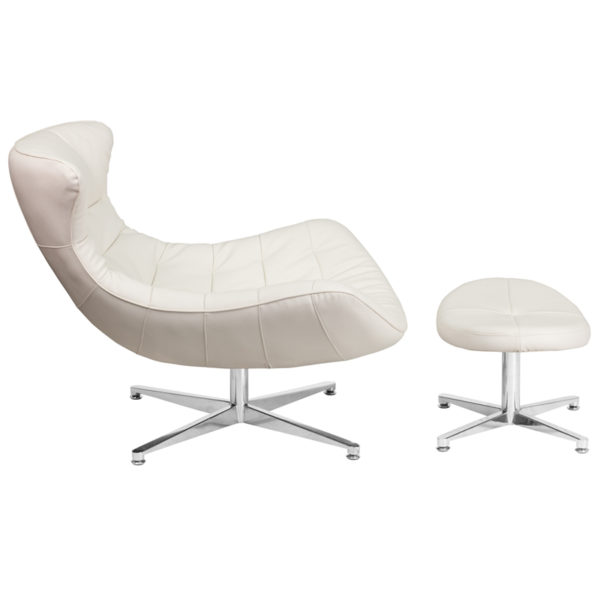 Chair and Ottoman Set White Leather Cocoon Chair