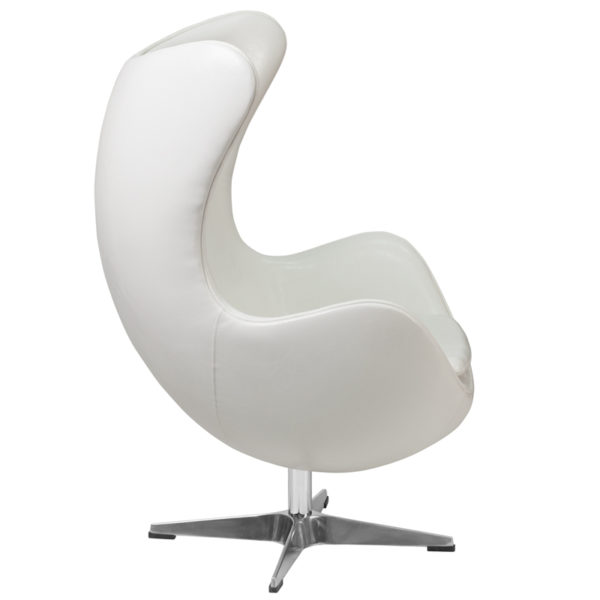 Lowest Price Melrose White Leather Egg Chair with Tilt-Lock Mechanism