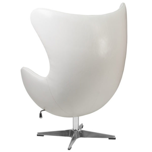 Lounge Chair White Leather Egg Chair