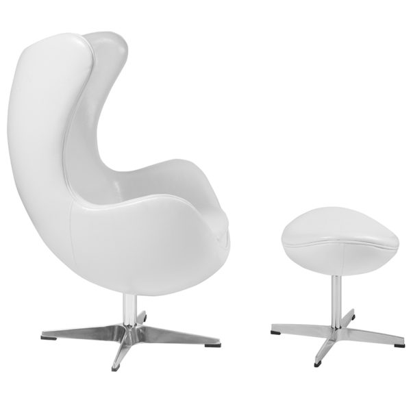 Lowest Price Melrose White Leather Egg Chair with Tilt-Lock Mechanism and Ottoman
