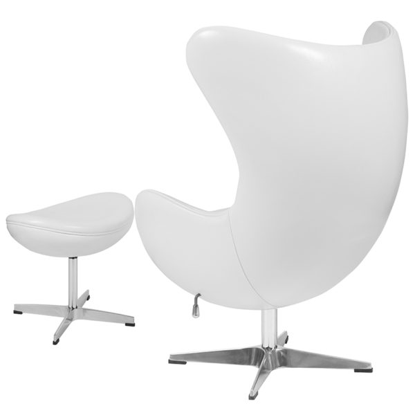 Chair and Ottoman Set White Leather Egg Chair/OTT