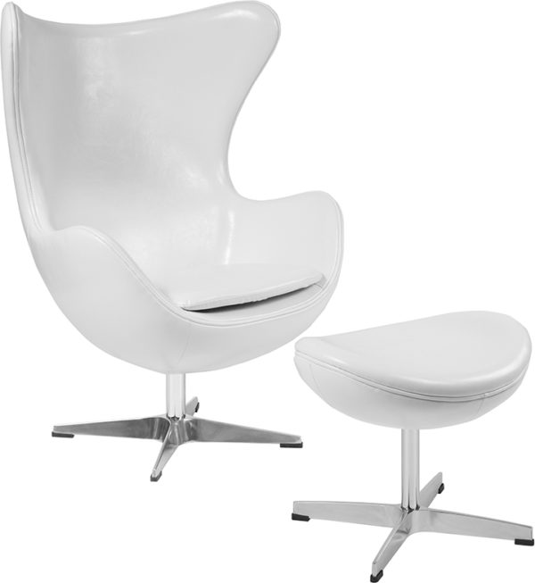 Wholesale Melrose White Leather Egg Chair with Tilt-Lock Mechanism and Ottoman