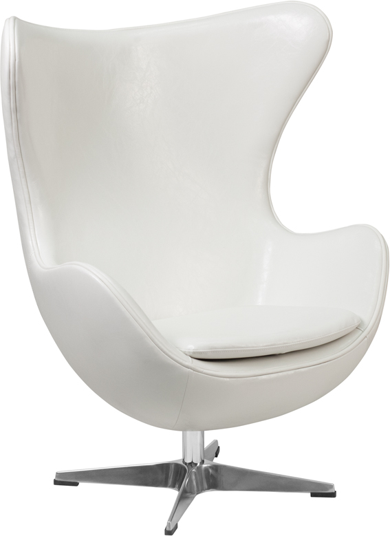 Wholesale Melrose White Leather Egg Chair with Tilt-Lock Mechanism