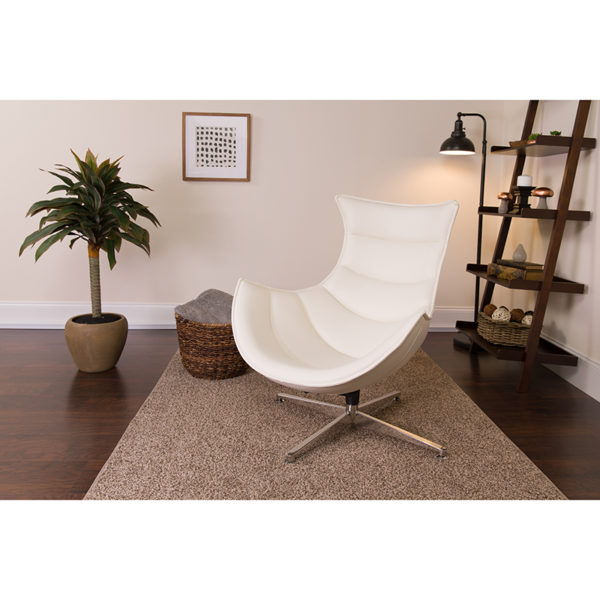 Lowest Price Melrose White Leather Swivel Cocoon Chair