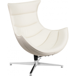 Wholesale Melrose White Leather Swivel Cocoon Chair