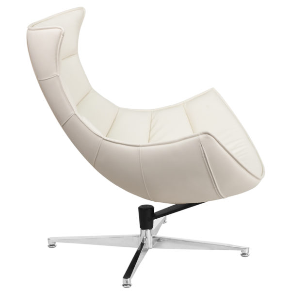 Lounge Chair White Leather Cocoon Chair