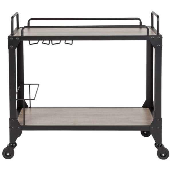 Lowest Price Midtown Light Oak Wood and Iron Kitchen Serving and Bar Cart with Wine Glass Holders