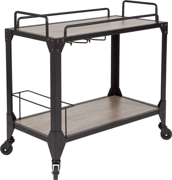 Wholesale Midtown Light Oak Wood and Iron Kitchen Serving and Bar Cart with Wine Glass Holders