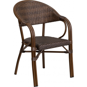 Wholesale Milano Series Cocoa Rattan Restaurant Patio Chair with Bamboo-Aluminum Frame