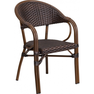 Wholesale Milano Series Dark Brown Rattan Restaurant Patio Chair with Red Bamboo-Aluminum Frame