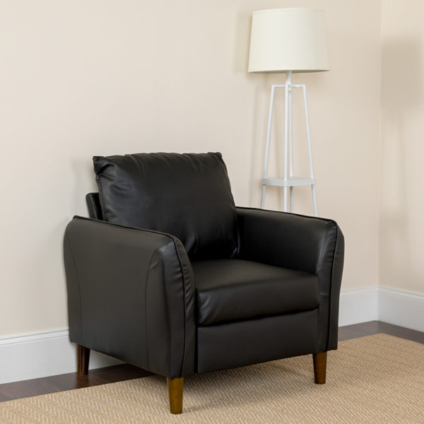 Lowest Price Milton Park Upholstered Plush Pillow Back Arm Chair in Black Leather