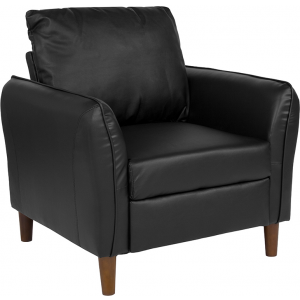 Wholesale Milton Park Upholstered Plush Pillow Back Arm Chair in Black Leather