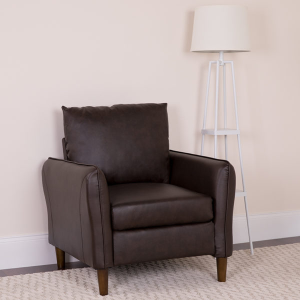 Lowest Price Milton Park Upholstered Plush Pillow Back Arm Chair in Brown Leather