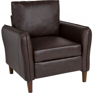 Wholesale Milton Park Upholstered Plush Pillow Back Arm Chair in Brown Leather