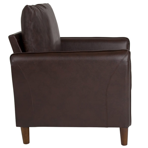 Contemporary Style Brown Leather Chair