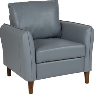 Wholesale Milton Park Upholstered Plush Pillow Back Arm Chair in Gray Leather
