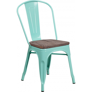 Wholesale Mint Green Metal Stackable Chair with Wood Seat