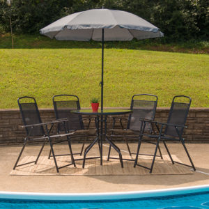 Wholesale Nantucket 6 Piece Black Patio Garden Set with Table