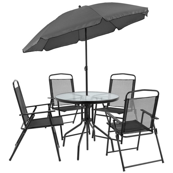 Umbrella and 4 Folding Chairs