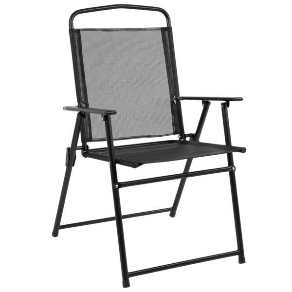 Table and Chair Set 6PC Black Patio Set & Umbrella