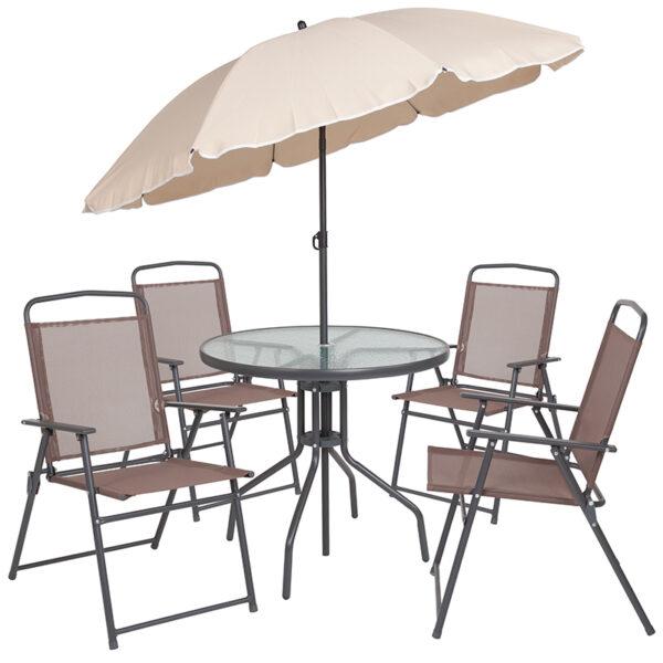 Tan Umbrella and 4 Folding Chairs