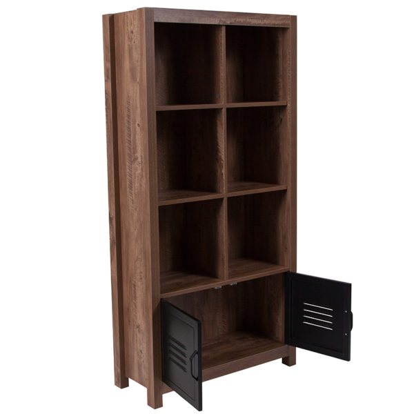 "Lowest Price New Lancaster Collection 59.5""H 6 Cube Storage Organizer Bookcase with Metal Cabinet Doors in Crosscut Oak Wood Grain Finish"