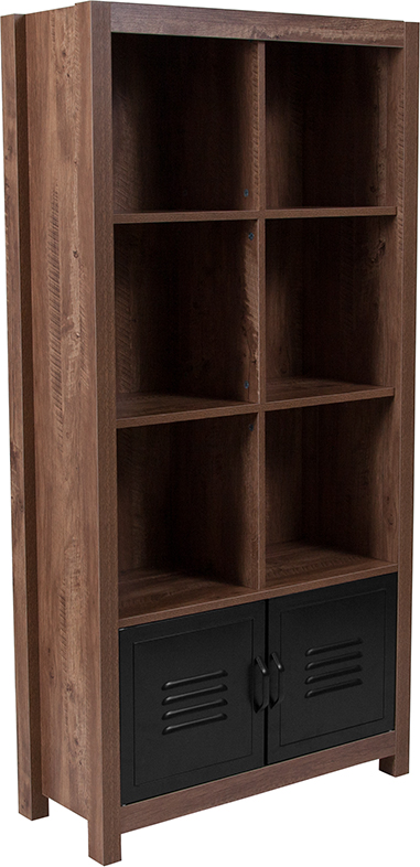 "Wholesale New Lancaster Collection 59.5""H 6 Cube Storage Organizer Bookcase with Metal Cabinet Doors in Crosscut Oak Wood Grain Finish"