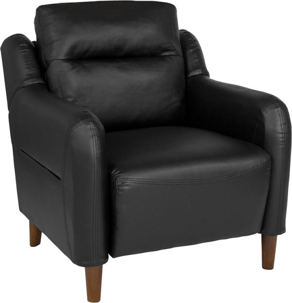 Wholesale Newton Hill Upholstered Bustle Back Arm Chair in Black Leather