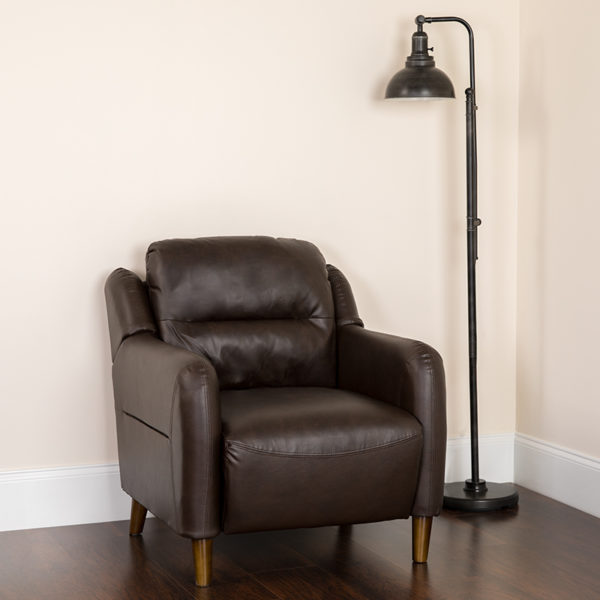 Lowest Price Newton Hill Upholstered Bustle Back Arm Chair in Brown Leather