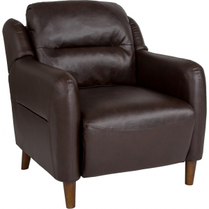 Wholesale Newton Hill Upholstered Bustle Back Arm Chair in Brown Leather