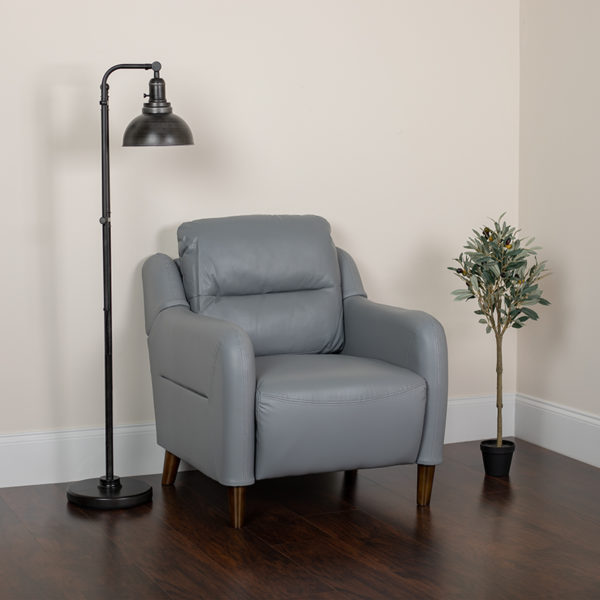 Lowest Price Newton Hill Upholstered Bustle Back Arm Chair in Gray Leather