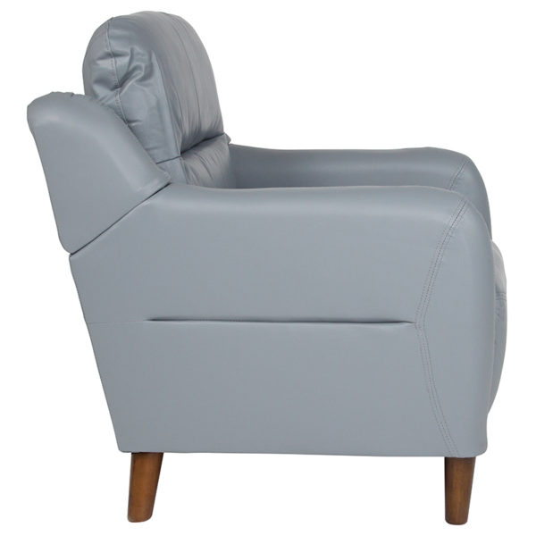 Contemporary Style Gray Leather Chair