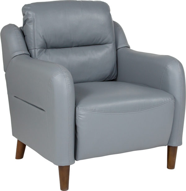 Wholesale Newton Hill Upholstered Bustle Back Arm Chair in Gray Leather