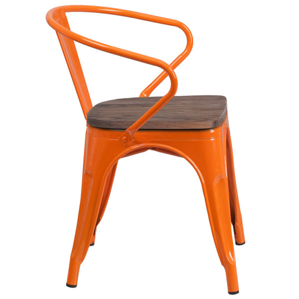 Lowest Price Orange Metal Chair with Wood Seat and Arms
