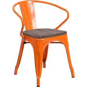 Wholesale Orange Metal Chair with Wood Seat and Arms