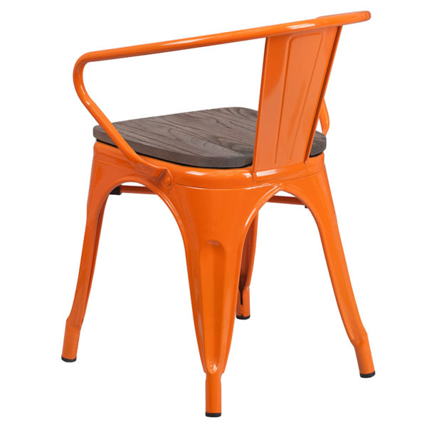 Stackable Bistro Style Chair Orange Metal Chair With Arms