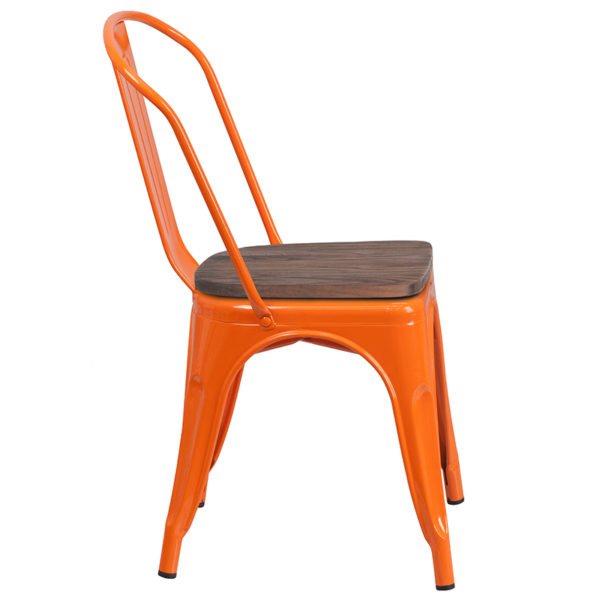 Lowest Price Orange Metal Stackable Chair with Wood Seat