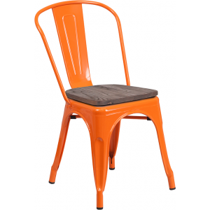 Wholesale Orange Metal Stackable Chair with Wood Seat