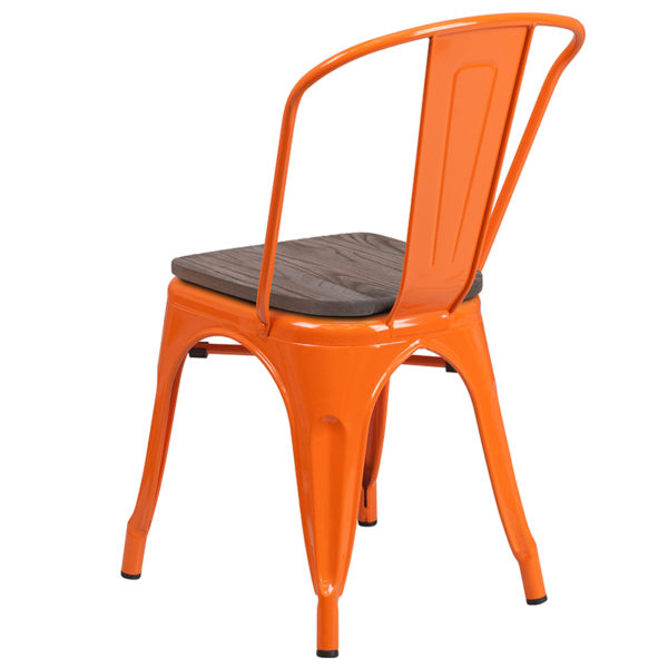 Stackable Bistro Style Chair Orange Metal Stack Chair