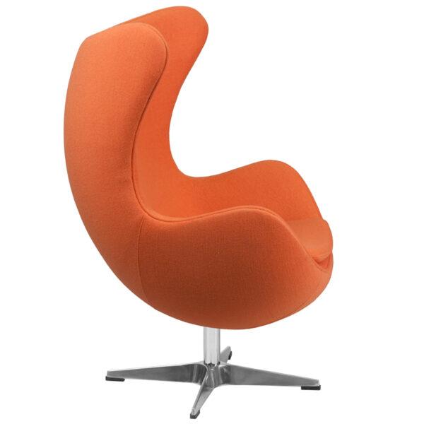 Lowest Price Orange Wool Fabric Egg Chair with Tilt-Lock Mechanism