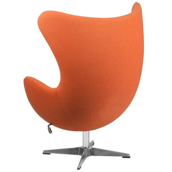 Lounge Chair Orange Wool Fabric Egg Chair