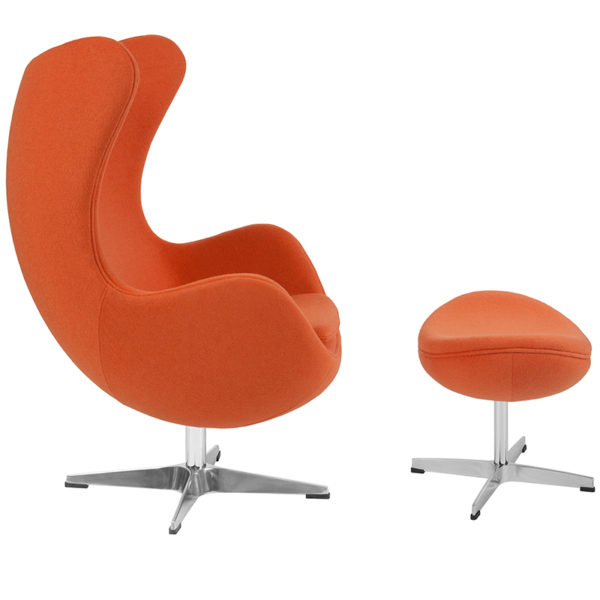 Lowest Price Orange Wool Fabric Egg Chair with Tilt-Lock Mechanism and Ottoman